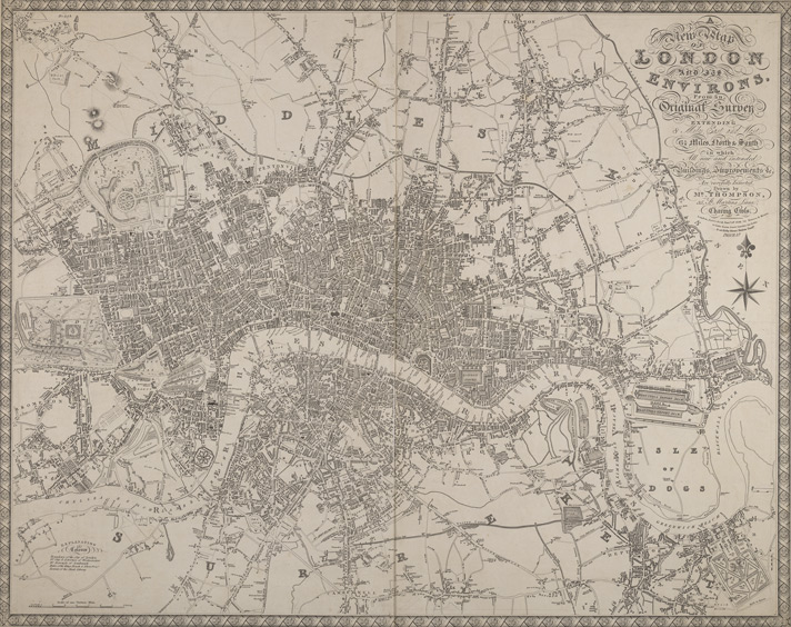 A new map of London and its environs from and original survey. Extending 8 miles east and west, 6 1/4 miles north & south in which all new and intended buildings and improvements, &c. are carefully inserted